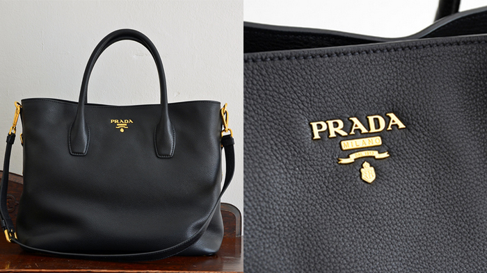prada handtasche schwarz canvas leder. Black Bedroom Furniture Sets. Home Design Ideas
